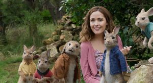 Mopsy (Elizabeth Debicki), Flopsy (Margot Robbie), Benjamin (Colin Moody), Bea (Rose Byrne), Peter Rabbit (James Corden) and Cottontail (Daisy Ridley) in Columbia Pictures' PETER RABBIT.